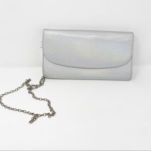 Nordstrom Holographic Silver Clutch Crossbody